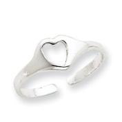 Sterling Silver Heart Toe Ring - JewelryWeb