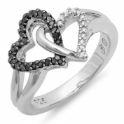 0.15 Carat (ctw) Sterling Silver Round Black & White Diamond Ladies 2 Tone Promise Tangled Double Heart Love Engagement Ring