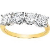 14K Yellow Gold 05.20 Mm Two Tone Created Moissanite Anniversary Band