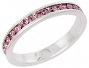 """Sterling Silver Eternity Band, w/ June Birthstone, Alexandrite Crystals, 1/8"""" (3mm) wide, size 7.5"""