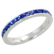 "Sterling Silver Eternity Band, w/ September Birthstone, Sapphire Crystals, 1/8"" (3mm) wide, size 8"