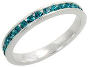 """Sterling Silver Eternity Band, w/ December Birthstone, Blue Topaz Crystals, 1/8"""" (3mm) wide, size 6"""