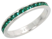 """Sterling Silver Eternity Band, w/ May Birthstone, Emerald Crystals, 1/8"""" (3mm) wide, size 7.5"""
