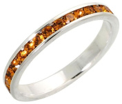 """Sterling Silver Eternity Band, w/ November Birthstone, Citrine Crystals, 1/8"""" (3mm) wide, size 6"""