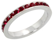 """Sterling Silver Eternity Band, w/ January Birthstone, Garnet Crystals, 1/8"""" (3mm) wide, size 9"""