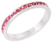 """Sterling Silver Eternity Band, w/ October Birthstone, Pink Tourmaline Crystals, 1/8"""" (3mm) wide, size 5"""
