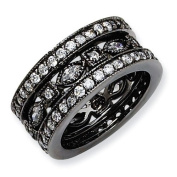 Black-plated Sterling Silver CZ Eternity Three Ring Set - Size 6 - JewelryWeb