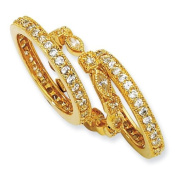 Gold-plated Sterling Silver CZ Eternity Three Ring Set - Size 8 - JewelryWeb