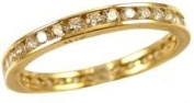 14k Yellow Gold, Eternity Endless Band Ring with Round Brilliant Created Gems