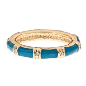 14K Gold Fill & Blue Enamel Stackable Ring - Band With CZ Accents Size 6