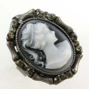 White Grey Cameo Ring Vintage Antique Style Stones Silver Tone Adjustable Size Band Designer Women Lady Fashion Jewellery