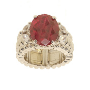 Oval Synthetic Ruby Stretch Fashion Cocktail Ring