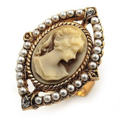 Vintage Filigree Pearl Cameo Ring