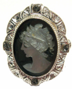 Cameo Ring Mother of Pearl Sterling Silver Size 6.5 Italian Master Carved