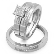 0.15 Carat (ctw) Sterling Silver Round White Diamond Men & Women's Micro Pave Engagement Ring Trio Bridal Set