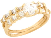 10k Yellow Gold White CZ Charming Wedding Engagement Duo Rings