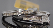 Diamond Ladies Bridal Set Wedding set Princess Cut Round Diamonds 0.50ct 10K White Gold