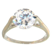 Cubic Zirconia Faux Engagement Ring, 7, in Crystal with Silver Finish