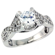 Sterling Silver Vintage Style Loop Knot Solitaire Engagement Ring w/ Brilliant Cut CZ Stones, 5/16 in. (8mm) wide, size 7