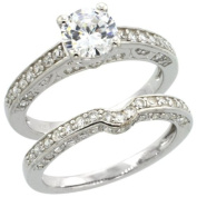 Sterling Silver Vintage Style 2-Pc. Engagement Ring Set w/ Brilliant Cut CZ Stones, 1/4 in. (6mm) wide, size 9