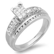 0.50 Carat (ctw) Sterling Silver Invisible Set Princess, Round & Baguette Cut Diamond Ladies Bridal Engagement Ring