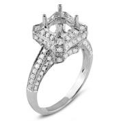 0.90 Carat (Ctw) 18k White Gold Round Diamond Semi Mount Round Diamond Engagement Bridal Ring