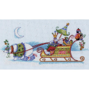 Dimensions Snow Bear and Sleigh Counted Cross Stitch Kit, 36cm x 20cm , 14-Count