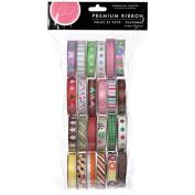 American Crafts 89376 Value Pack Premium Ribbon 24 Spools -.375 in. x 4 Feet Each-Seasonal 1