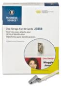 ID Card Clips, Metal w/Straps, 12/BX, Silver. .