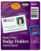 "Badge Holders, Heavy-Duty, 3""x4"", 25/PK, Horizontal/Clear. ."
