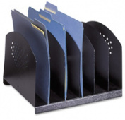 "Steel Desk Rack, 6 Sections, 12""x11-1/8""x8-1/8"", Black. ."