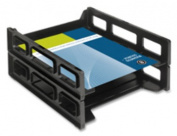 Business Source BSN62884 Letter Tray- Front Load- Stackable- Black