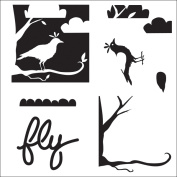 Crafter's Workshop Templates-Layered Bird Scene