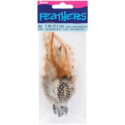 Feather Picks 13cm 4/Pkg-Brown/Black/Cream