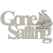 Die-Cut Grey Chipboard Word-Gone Sailing, 5.1cm X9.5cm