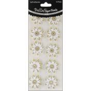 Bella! Wedding Glittered Self-Adhesive Paper Florals 10/Pkg-Gold