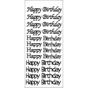 Hot Off The Press DAZ1909 Dazzles Stickers 2 Sheets-Happy Birthday Black