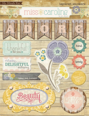 Miss Caroline Fiddlesticks Layered Stickers-Home