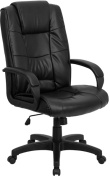 Flash Furniture GO-5301B-BK-LEA-GG High Back Black Leather Executive Office Chair