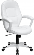 Flash Furniture QD-5058M-WHITE-GG Eco-Friendly White Leather Mid-Back Executive Office Chair
