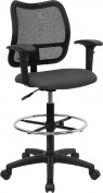 Flash Furniture WL-A277-GY-AD-GG Mid-Back Mesh Drafting Stool with Grey Fabric Seat/Arms