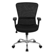 Flash Furniture GO-5307B-GG Mid-Back Black Mesh Computer Chair with Adjustable Arms and Chrome Base