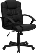 Flash Furniture GO-937M-BK-LEA-GG Eco-Friendly Black Leather Mid-Back Office Chair