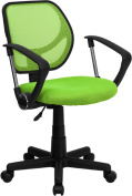 Mid-Back Green Mesh Task Chair and Computer Chair with Arms