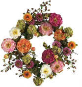 Nearly Natural 4664 24 Inch Mixed Peony Wreath