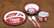 BSI PRODUCTS 31019 Kids 5 Pc. Dish Set- Oklahoma Sooners