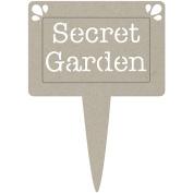 Fabscraps DC47026 Die-Cut Grey Chipboard Word-Secret Garden Pot Plant Tag 5 in. x 3.5 in.