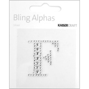 Kaisercraft RS806 Bling Alphas Self-Adhesive Rhinestone Letters 1.375 in.-Silver Crystal F