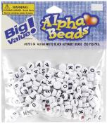 Darice 0791-14 Alphabet Beads 7mm 250-Pkg-White Round