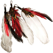 Natural Feather Picks 3/Pkg-8.9cm Red/White/Black